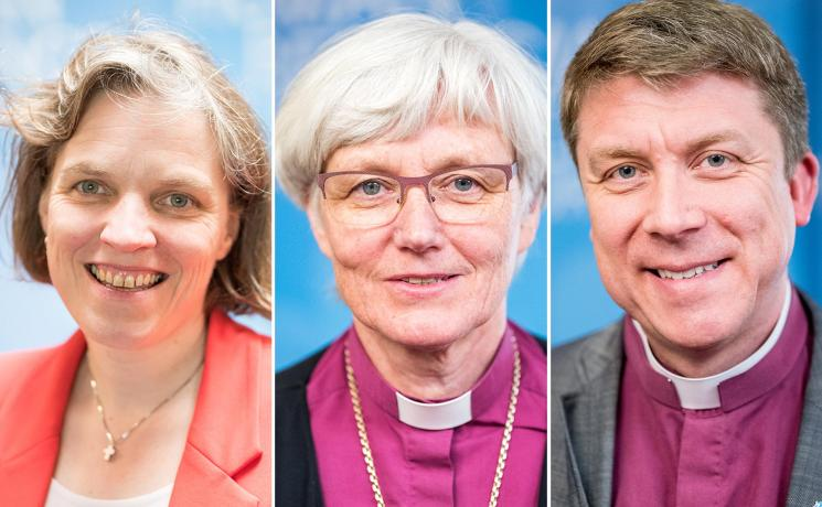 The vice-presidents of the European regions: Pröpstin Astrid Kleist for Central and Western Europe, Archbishop Antje Jackelén for the Nordic Countries and Archbishop Urmas Viilma for Central and Eastern Europe. Photo: LWF/Albin Hillert