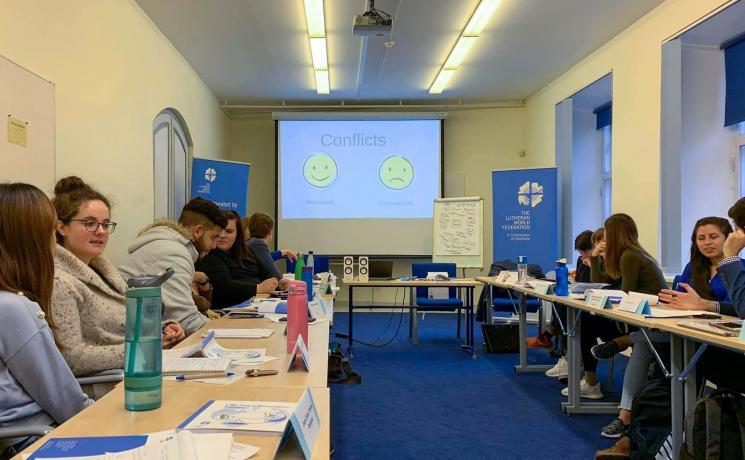 Participants in the 2019 LWF Peace Messengers training workshop in Tallinn, Estonia. Photo: LWF/S.Kit