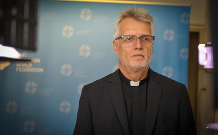 LWF General Secretary Martin Junge  addressed the Faith for Nature conference which is taking place in Skálholt, Iceland, via video stream. Photo: LWF/S. Gallay