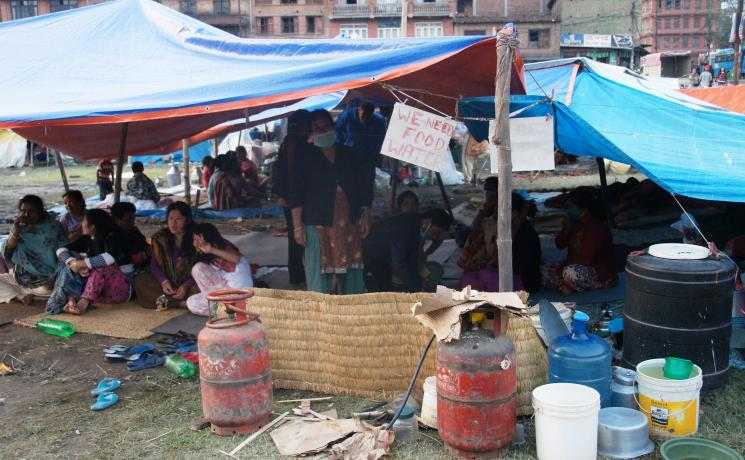 Survivors of the Nepal earthquake forced to sleep under tarpaulins appeal for assistance. Photo: LWF/C Kästner