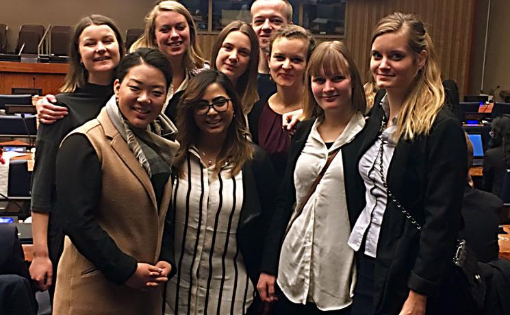 The authors, Mikka McCracken, foreground left, and Caroline Bader, third from right, with other young members of ACT Alliance organizations in New York,  say youth should not be afraid to enter new partnerships in the SDG era.