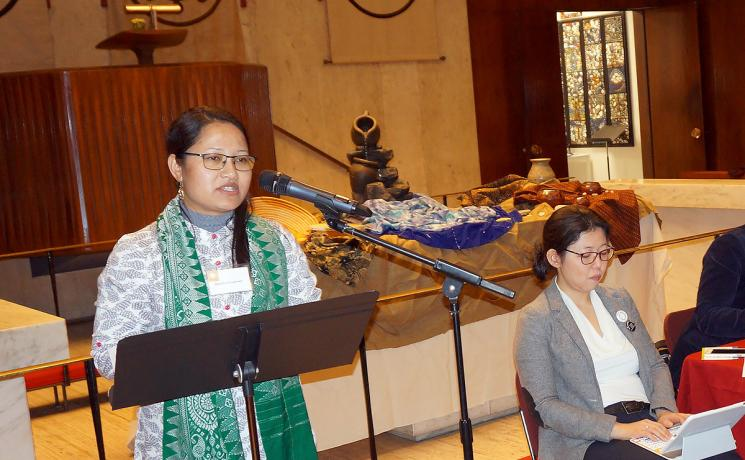 Ranjita Borgoary gives a presentation at a meeting associated with the Commission on the Status of Women. Photo: LWF