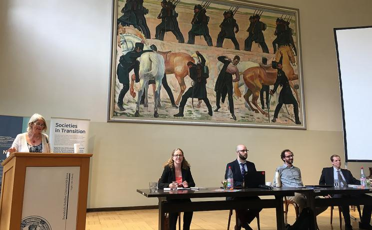 At the University of Jena conference, Rev. Dr Miriam Haar (left at table with panelists) joined theologians from around the world exploring the impact of the Reformation beyond European churches and societies. Photo: Aaron T. Hollander