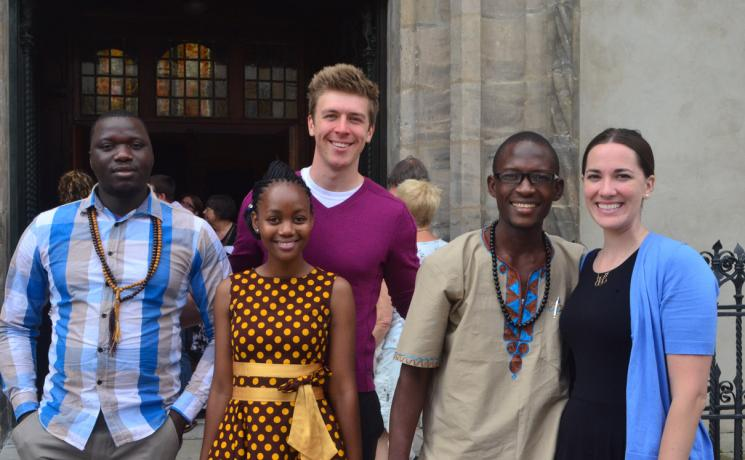 Sam Suke (middle, back row) with other LWF Young Reformers in front of the Castle Church in Wittenberg. Picture by LWF/Edgard Toclo