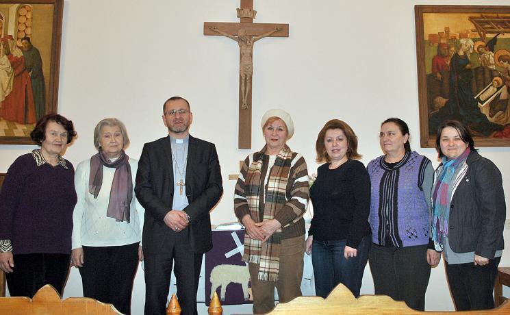 Bishop Maschewski with congregation in Simferopol, Ukraine