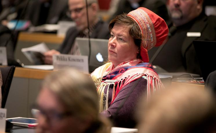 Ulla-Maarit Magga, the member of the ELCF General Synod representing the Sami parliament in Finland. Photo: Aarne Ormio