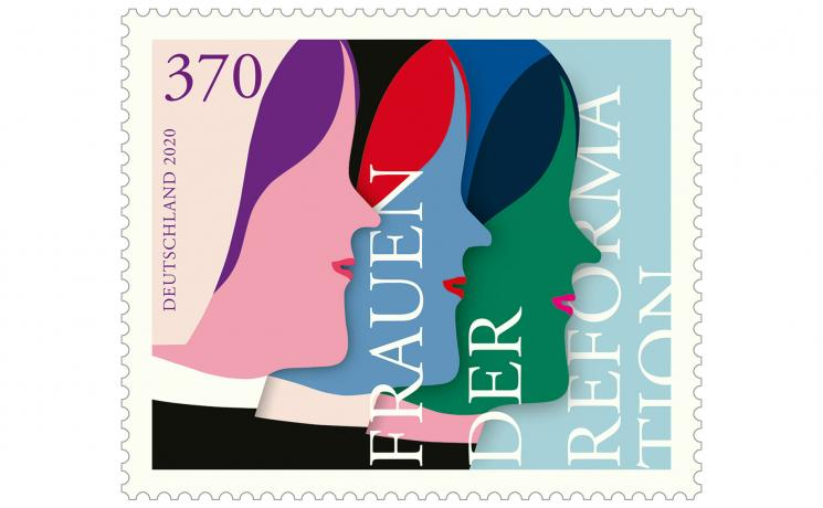 "The ""Women of the Reformation"" commemorative stamp was designed by Susann Stefanizen and presented to the public in the Market Church in Hannover, Germany. Photo: Federal Ministry of Finance"