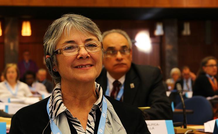 Rev. Dr Gloria Rojas Vargas during the 2013 LWF Council meeting. Photo: LWF/S. Gallay