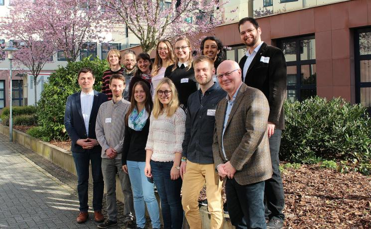 Getting together: Scholarship holders of the GNC/LWF with Rev. Dionisie Arion, Scholarship Secretary of the GNC/LWF (left) and Rev. Norbert Denecke, General Secretary of the GNC/LWF. Photo: LWF/A.Weyermüller