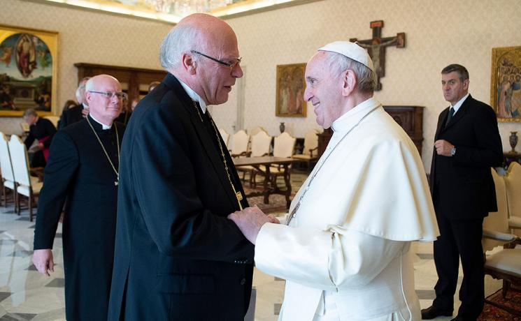 Bishop Ulrich and Pope Francis during the audience in the Vatican. Photo: VaticanPress