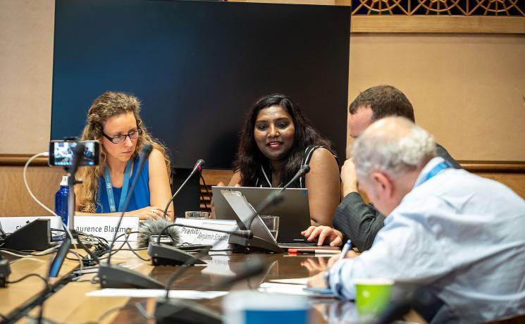 LWF Youth secretary Ms Pranita Biswasi, addressing the side-event on a human rights' perspective in climate action processes at the UN Office in Geneva. Photo: LWF/F. Wilches