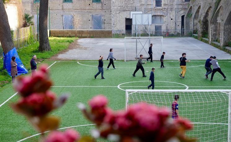 Children from the Quartieri Spagnoli area of Naples enjoy football training as part of an education project to help them learn vital life skills Photo: Caroline von der Tann/ELCI