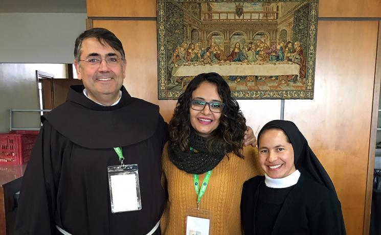 Rev. Karla Steilmann, centre, with Dr. Vidal Rodriguez (Spain) and Nun Aura Guadalupe Ortega (Guatemala), who were both representing the Theological Education Institution. Photo: LWF