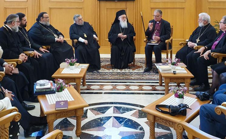 Members of the international Lutheran-Orthodox Commission meeting with Archbishop Anastasios in Albania in 2019. All photos: N. Hoppe