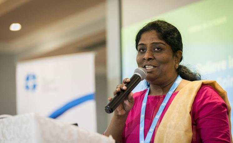 Rev. Caroline Christopher, from the Arcot Lutheran Church in India, leads a Bible study on 'freedom and fruit of the Spirit' at the global consultation on Lutheran Identities in Addis Ababa from 23 to 27 October 2019. Photo: LWF/Albin Hillert