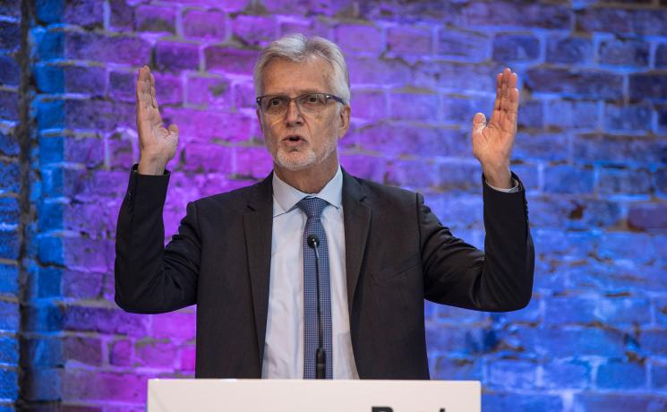 LWF General Secretary Martin Junge speaking at the farewell-event for the outgoing President of Bread for the World, Cornelia Füllkrug-Weizel. Photo: Hermann Bredehorst/Brot für die Welt