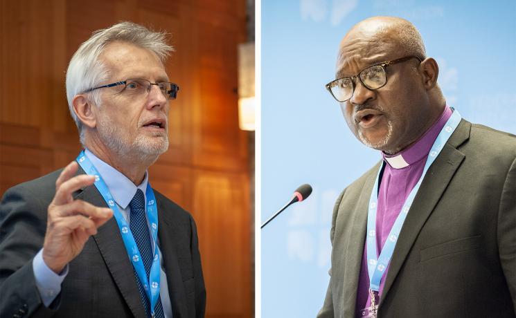 LWF General Secretary Rev Dr Martin Junge (left) and President Archbishop Dr Panti Filibus Musa. Photos: LWF/S. Gallay and LWF/Albin Hillert