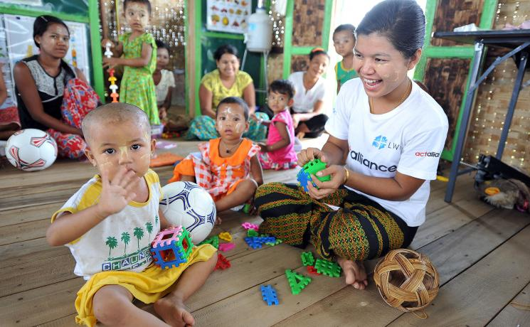 An LWF-run child-friendly space in Thi Kyar village, Mrauk U township, Rakhine state, Myanmar. Photo:C/Kästner