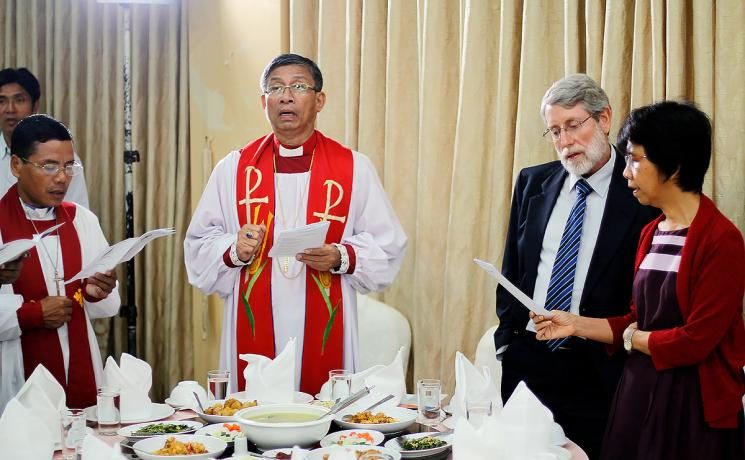 The commemoration of the 500th Reformation anniversary in Myanmar included a worship service, symposium and a common meal in Yangon. From the left: Rev. Peter Hoi Be, Myanmar Lutheran Church general secretary and Bishop Dr Andrew Mang Lone; LWF regional representative for Southeast Asia, Mr David Mueller and Ms Beth Mueller. Photo: LWF Myanmar/Isaac Htun.