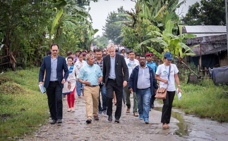 Camp secretary Rev. Tikaram Rasaily shows Rev. Dr Martin Junge around the Beldangi refugee camp, Jhapa district, Nepal. All photos: LWF /  Albin Hillert