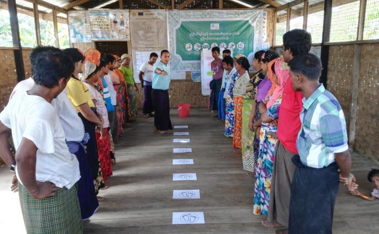 Potential entrepreneurs participate in an exercise about business risks during a training on entrepreneurship development, held at Thae Chaung IDP camp in Sittwe township, Myanmar. Photo: LWF/ Maung Nyien Naing