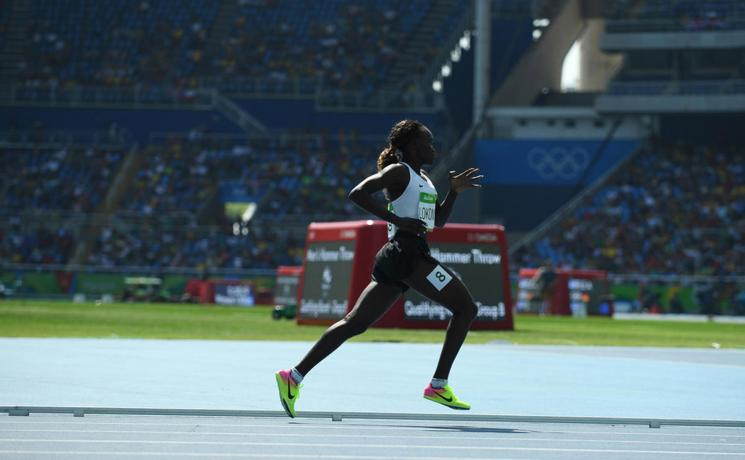 South Sudanese refugee, Rose Nathike Lokonyen, runs the 800-metres for the Refugee Olympic Team at Rio 2016. Photo: UNHCR/Benjamin Loyseau