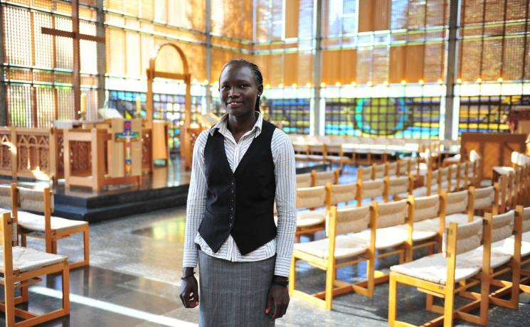 Rose Nathike Lokonyen in the chapel of the Ecumenical Center, where the LWF is based. Lokonyen will be one of the speakers at Malmö arena. Photo: LWF/M. Renaux