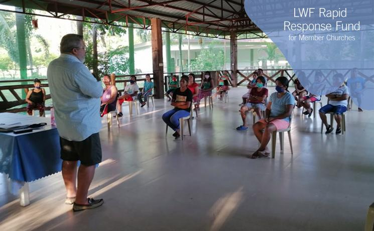 The Lutheran Center in Tiaong, Quezon Province, a Lutheran Church in the Philippines ministry, gathers in April with social distancing. Photo: LCP