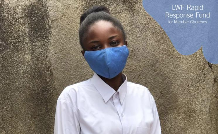 """""""Wear a mask. Respect the regulations and restrictions. The disease is still out there."""" This is Ms Sandrine Ilunga's message to fellow youth, as DRC eases COVID-19 restrictions and her church, the Evangelical Lutheran Church in Congo, reaches out to students and their families. PHOTO: ELCCo"""