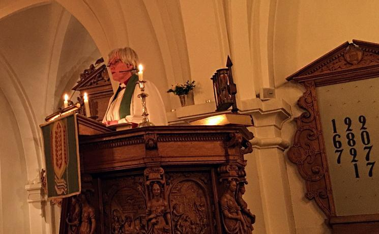 """""""Today's gospel allows us to believe that it needs the recognition of a wounded God to overcome violence"""" - Swedish Archbishop Antje Jackelén giving the opening sermon of the Europe Pre-Assembly. Photo: LWF/A. Daníelsson"""