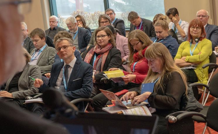 Participants in the LWF European Regions' Meeting in Moravske Toplice, Slovenia, follow the presentation of LWF General Secretary Rev. Dr Martin Junge. Photo: LWF/A. Danielsson