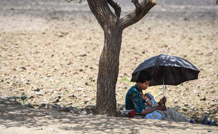 A woman nurses her child in the shade of a tree trunk in Lalibela, Ethiopia. Photo: Magnus Aronsson/ Church of Sweden