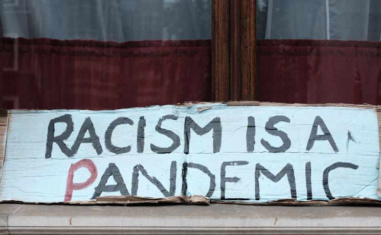 A slogan used during a recent Black Lives Matter protest in London. Photo: Ehimetalor Akhere Unuabona via Unsplash