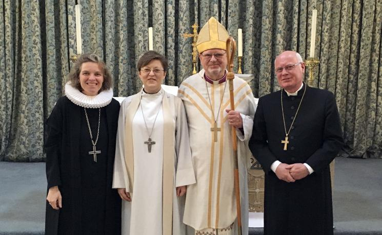 Shaping the LWF communion: (from left) LWF Vice-President Astrid Kleist, LCiGB Dean-elect Rev. Eliza Zikmane, Rev. Dr Martin Lind, current Bishop of the LCiGB, and Oberkirchenrat Norbert Denecke, General Secretary of the LWF German National Committee. Photo: Astrid Kleist