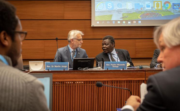 LWF General Secretary Rev. Dr Martin Junge and the Minister of Justice and Constitutional Affairs Paulino Wanawilla Onango (right) during the LWF-hosted UN side event on human rights in South Sudan. Photo: LWF/A. Danielsson
