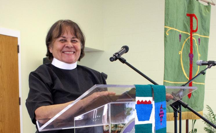 Rev. Joann Conroy, an Oglala Sioux woman, explains how the church might learn to care for creation from Indigenous people around the world. Photo: ELCA