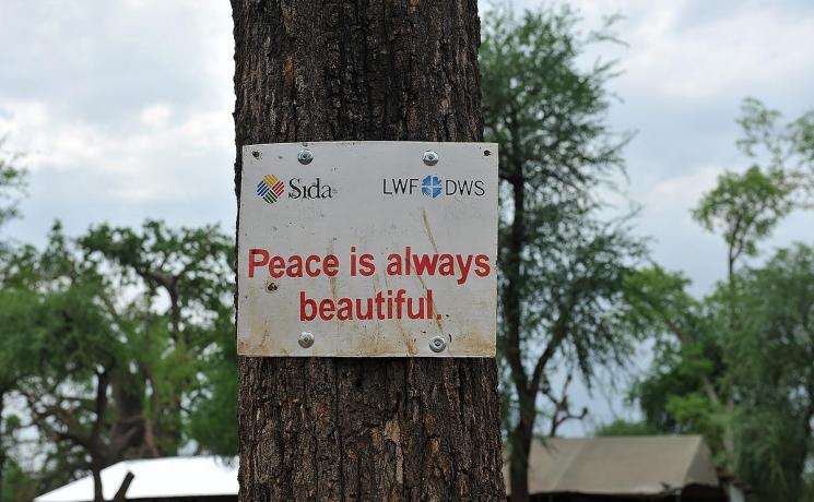 Messages of peace in a school run by LWF in Upper Nile State, South Sudan. Photo: LWF/ C: Kästner