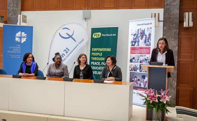 Ms Maria-Cristina Rendón, LWF program assistant for Gender Justice and Women's Empowerment, addressing the participants at the event. Photo: LWF/S. Gallay
