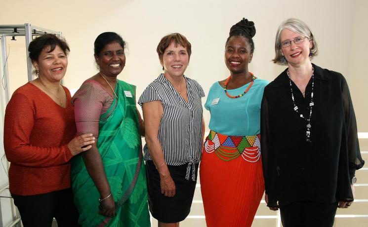 Sisters in faith: (from left) Rev. Sybil Chetty (South Africa), Dr Christy Ponni (India), retired Bishop Dr Margot Käßmann (Germany), Dr Ziyanda Mgugudo-Sello (South Africa) and Moderator Gabriele De Bona (ELM) . Photo: LWF/A. Weyermüller