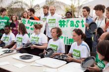 Fasting action at COP20. Photo: LWF/Sean Hawkey
