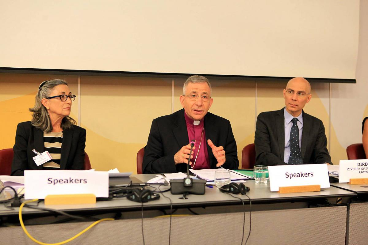 """(middle) LWF President Bishop Dr Munib A. Younan at the launch of """"Welcoming the Stranger"""" © UNHCR"""