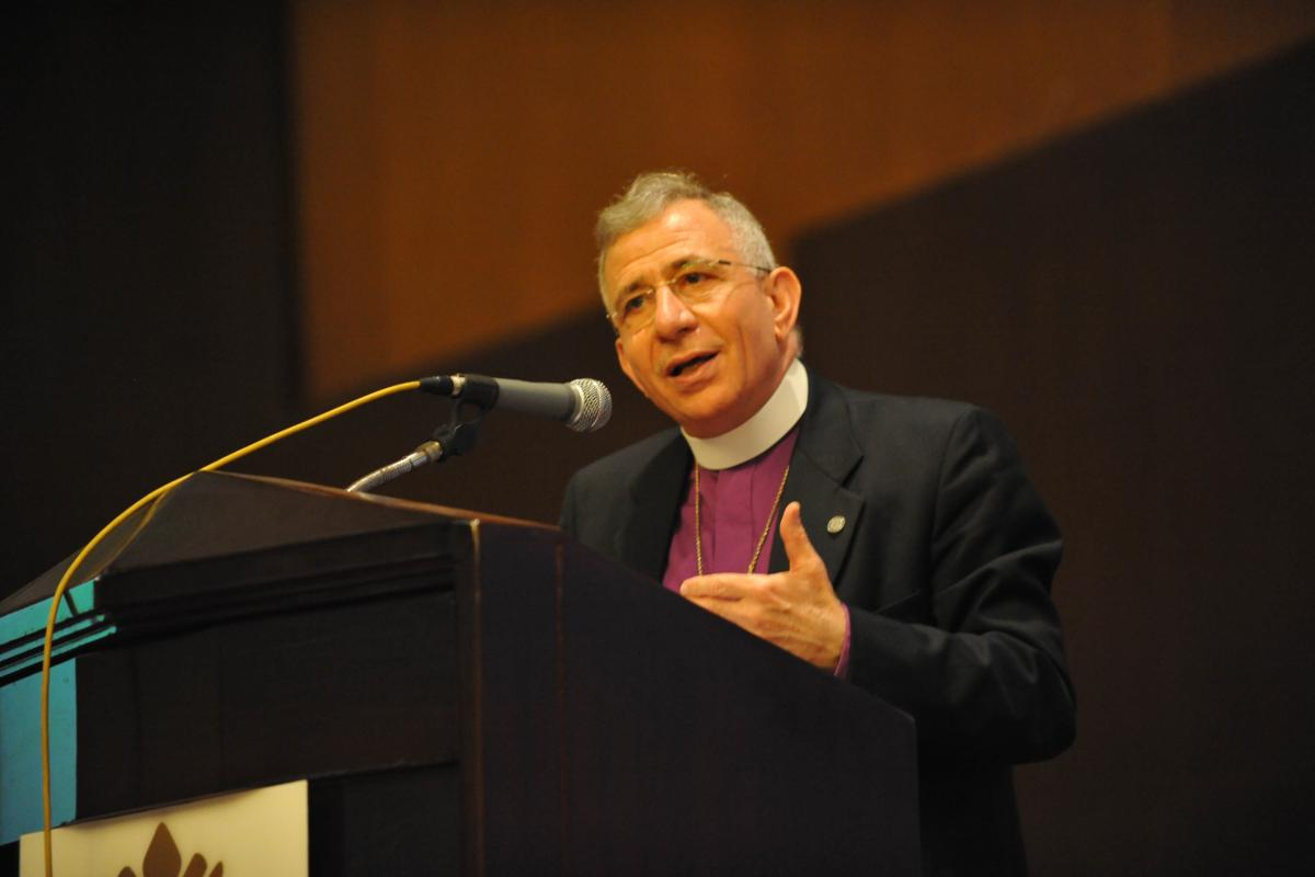LWF President Bishop Dr Munib Younan delivers his address at the 2014 Council meeting. Photo: M. Renaux