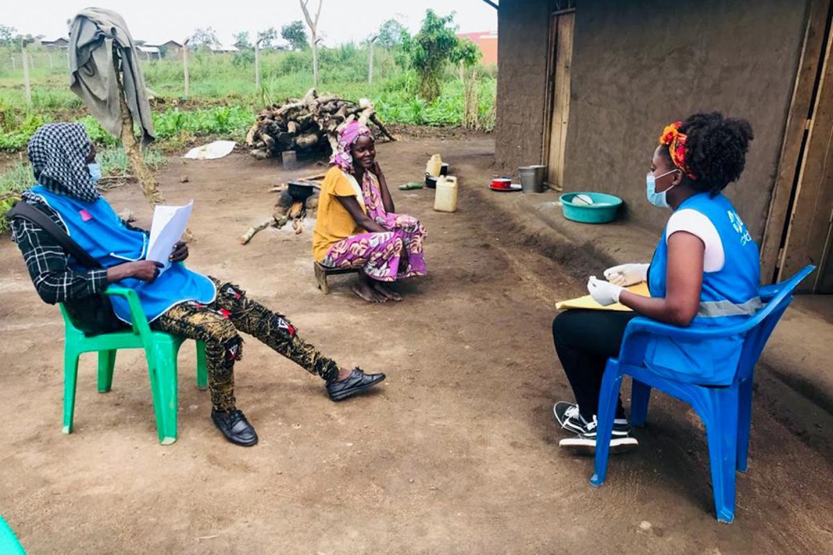 LWF staff take part in house-to-house sensitization around gender-based violence in Kyangwali refugee settlement in western Uganda Photo: LWF/Uganda