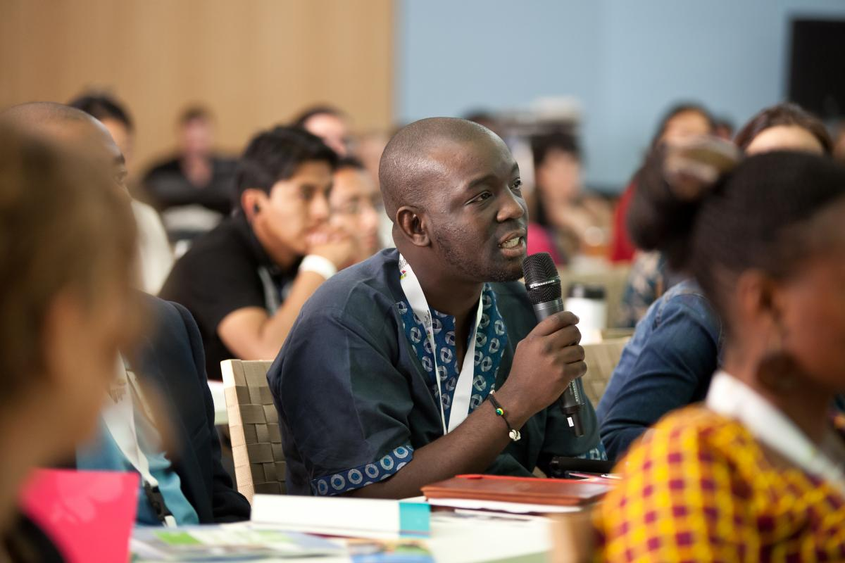 A delegate at a LWF youth meeting makes a submission. Photo: LWF/Marko Schoeneberg
