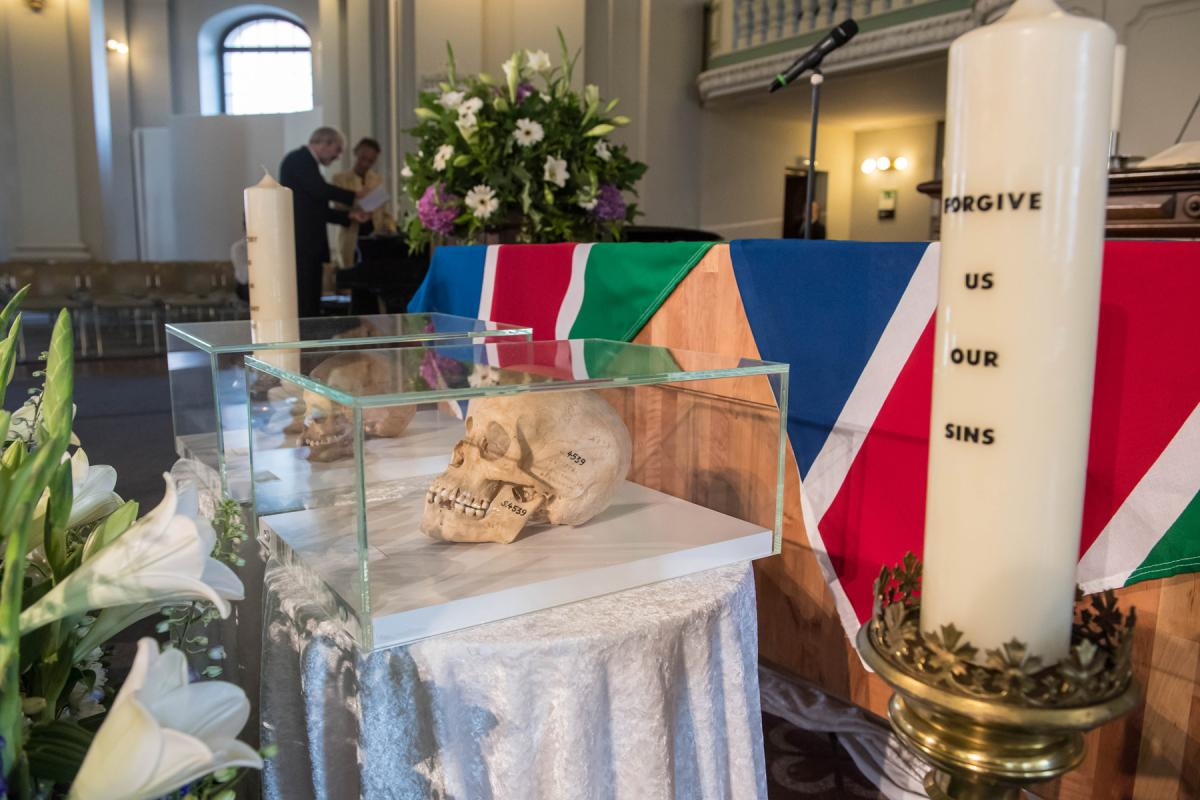 Marking the occasion of the return of mortal remains taken from Namibia to Germany during the colonial period, a commemorative service was held in Berlin, Germany, by the Evangelical Church in Germany (EKD) and the Council of Churches in Namibia. Photo: EKD/Christian Ditsch