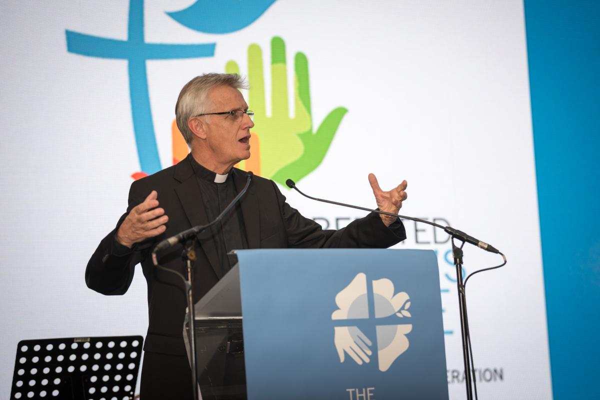 The Lutheran World Federation (LWF) General Secretary Rev. Dr Martin Junge, addressing the 800 participants from LWF's 145 member churches at the Twelfth Assembly. Photo: LWF/Albin Hillert