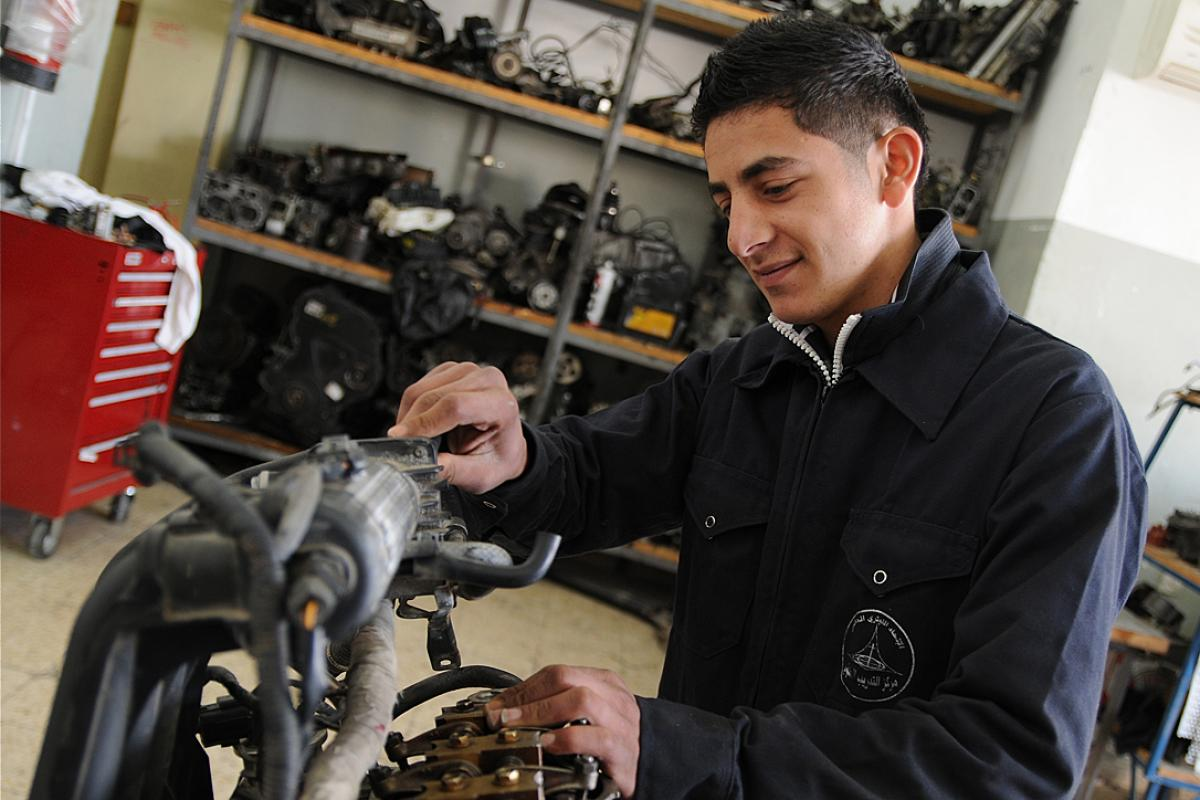Ahmad, an auto-mechanics student at the LWF Vocational Training Center in Ramallah. The LWF has been providing vocational training to Palestinian youth since 1949. Photo: LWF Jerusalem/K. Brown