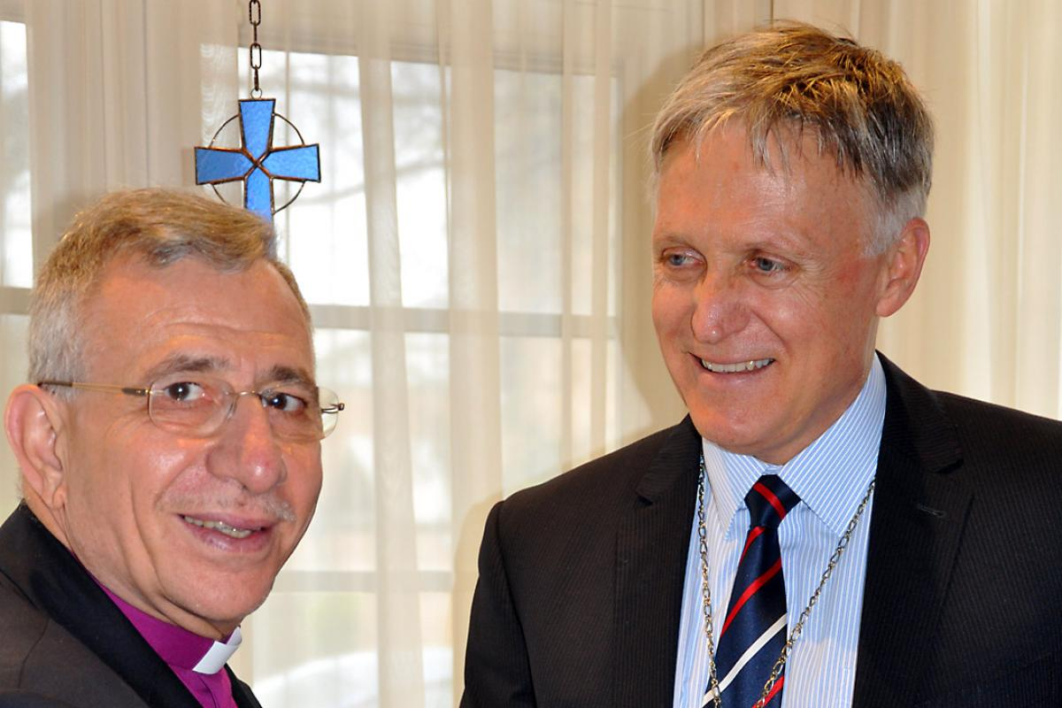 LWF President Bishop Younan meets LCA Bishop Dr John Henderson. Photo: LCA/Rosie Schefe