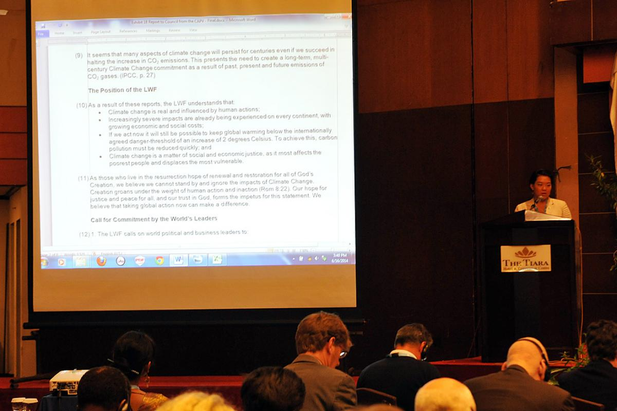 Mikka McCracken presents the report of the Committee for Advocacy and Public Voice at Council 2014. Photo: LWF/M. Renaux