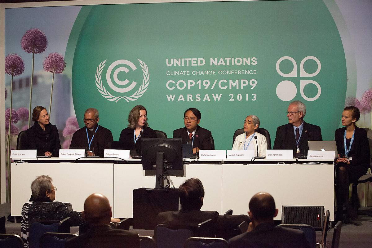 Interfaith press conference at COP19. Photo: LWF/Sean Hawkey